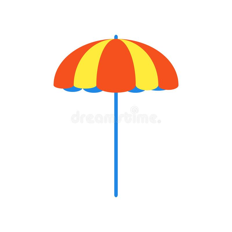 Ilustração lisa do vetor do projeto do estilo do guarda-chuva de praia isolada no sinal branco do ícone dos feriados do curso do  ilustração do vetor