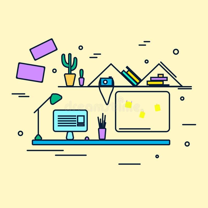 Ilustração lisa do vetor do projeto do local de trabalho ilustração do vetor