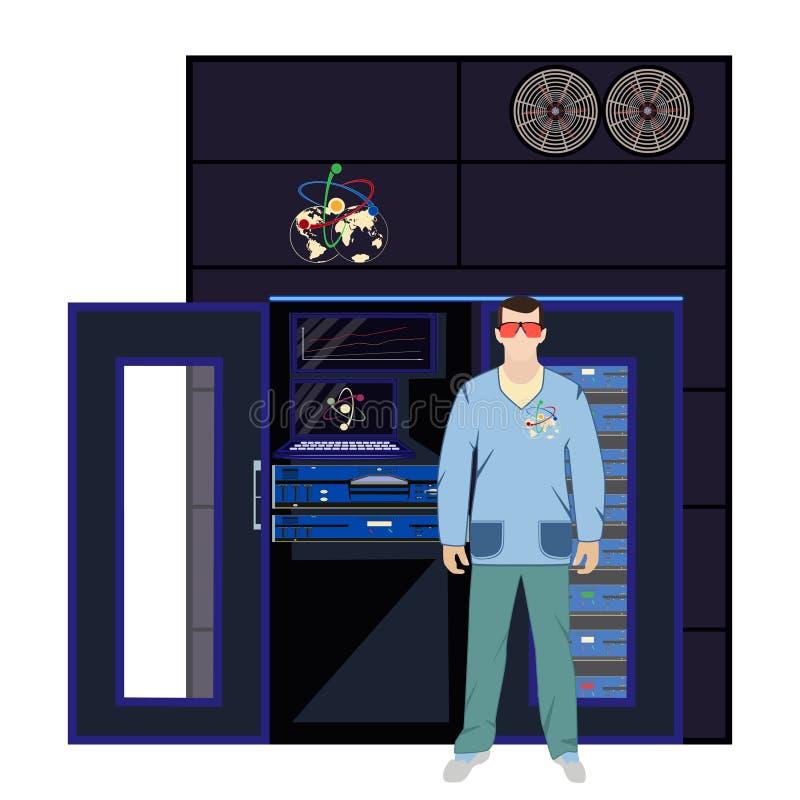 Ilustração lisa do vetor do quantum e do conceito da engenharia informática ilustração do vetor