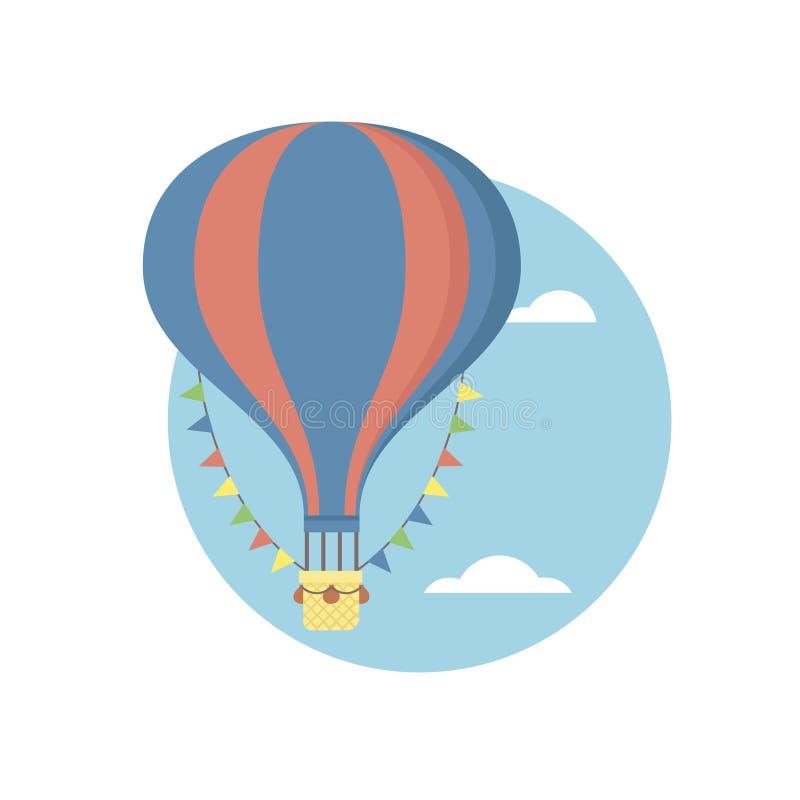 Ilustração lisa do vetor retro do balão de ar quente do vintage imagens de stock
