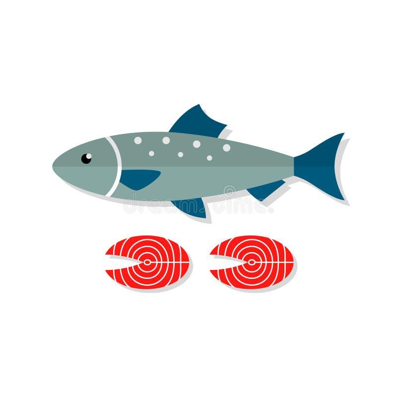 Ilustração lisa do vetor Salmon dos peixes ilustração stock