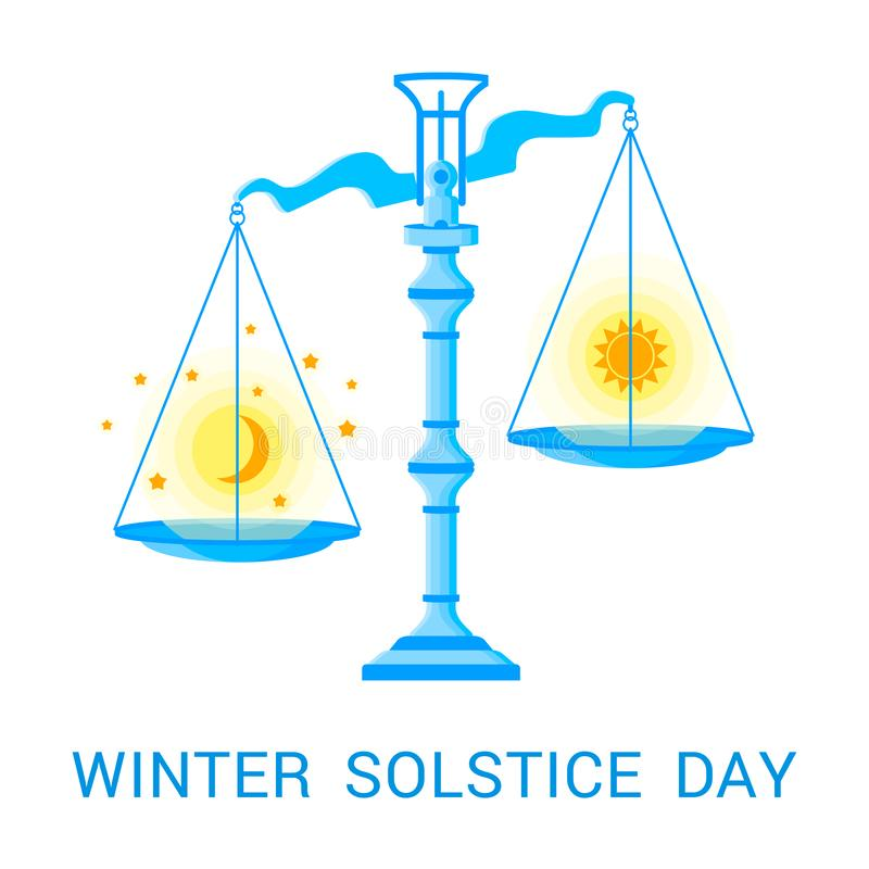 Ilustração lisa do vetor do solstício de inverno ilustração stock