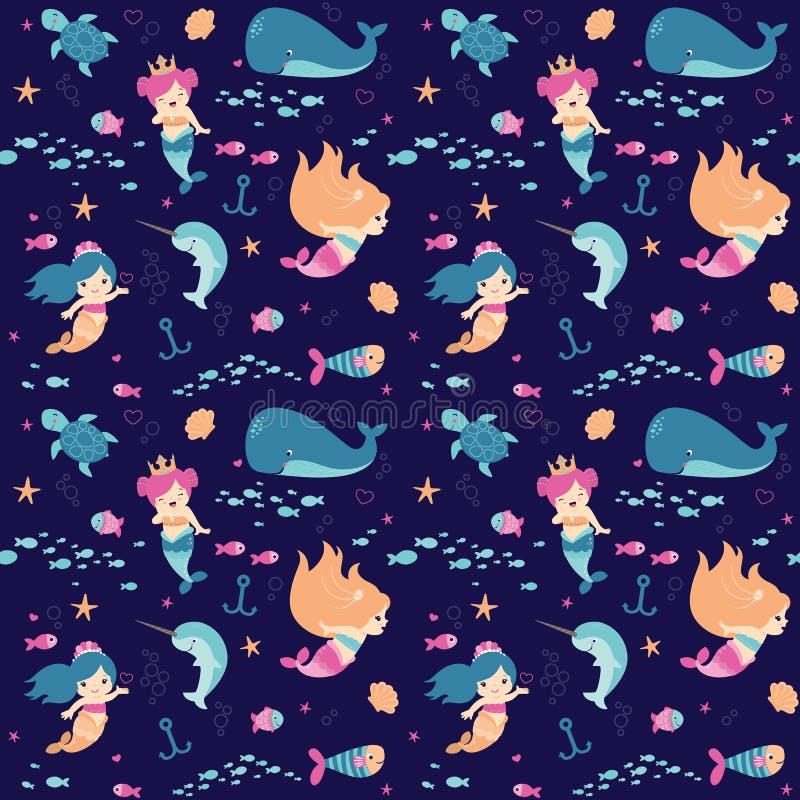 Ilustração lisa do vetor do teste padrão sem emenda subaquático pequeno bonito das sereias da fantasia ilustração royalty free