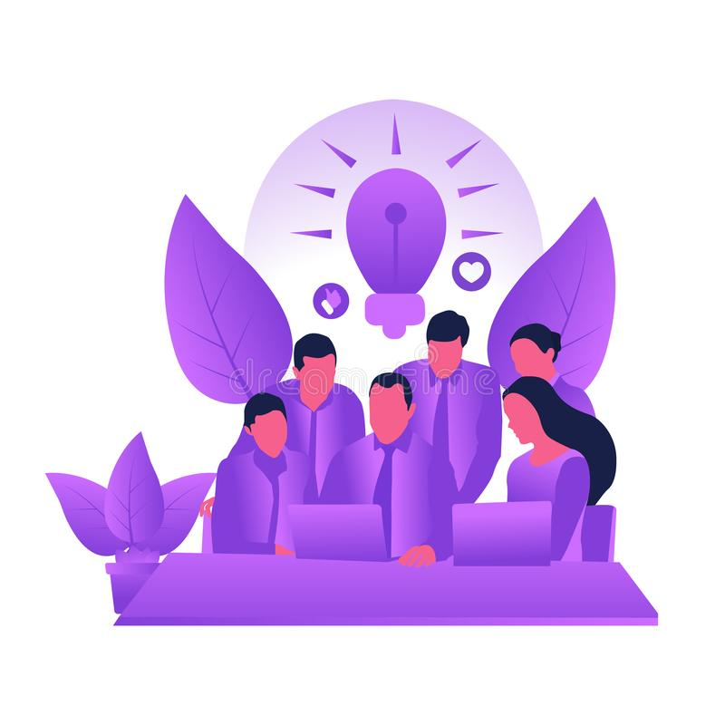Ilustração lisa do vetor do trabalho da equipe do trabalho da equipe ilustração royalty free