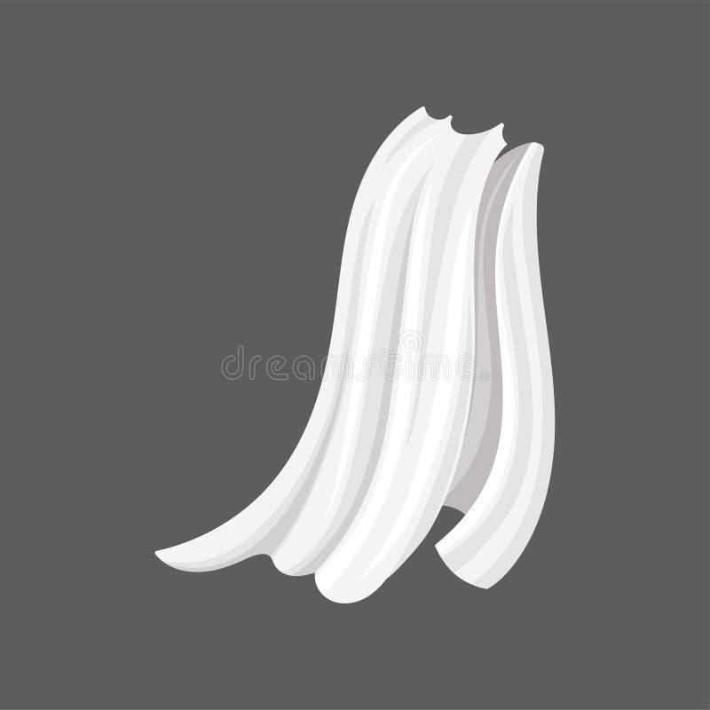 Ilustração lisa do vetor do voo de seda branco de pano no vento Cortinas longas do cetim para a decoração home Drapeje com ondula ilustração royalty free