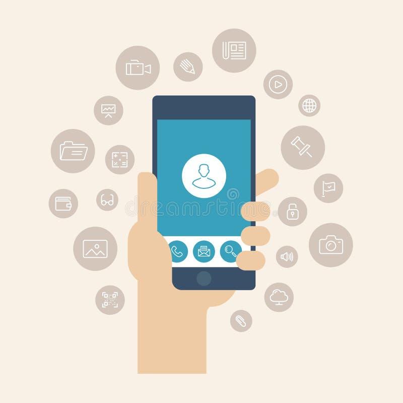 Ilustração lisa dos apps móveis ilustração do vetor