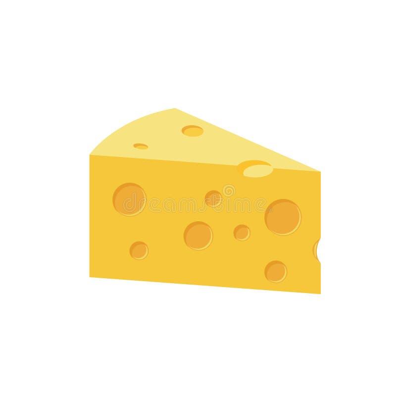 Ilustração lisa dos desenhos animados da cor do queijo ilustração royalty free