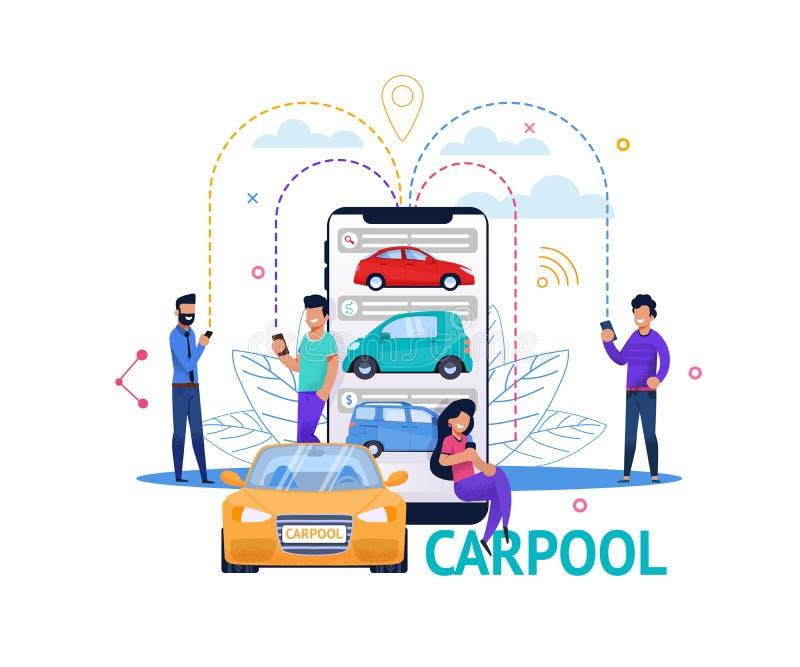 Ilustração lisa dos povos da busca móvel do App do Carpool ilustração royalty free