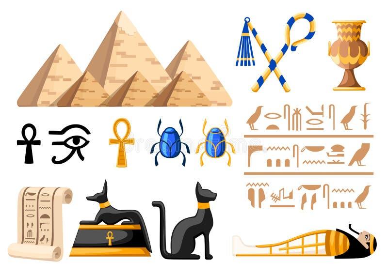 Ilustração lisa egípcia antiga dos símbolos e dos ícones de Egito da decoração na página branca da site do fundo e no desi móvel  ilustração stock