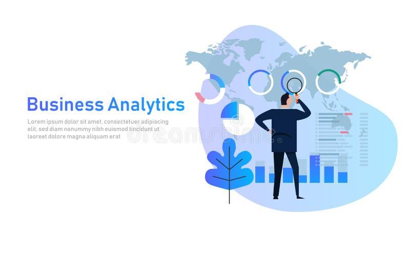 Ilustração lisa financeira do vetor da carta de negócio do gráfico da análise da analítica do negócio Dados de mapa do mundo glob ilustração royalty free