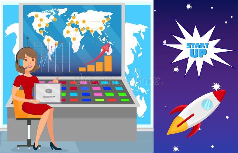 Ilustração lisa internacional da expansão de negócio ilustração stock