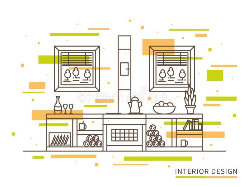 Ilustração lisa linear do design de interiores da casa moderna do campo do desenhista ilustração do vetor