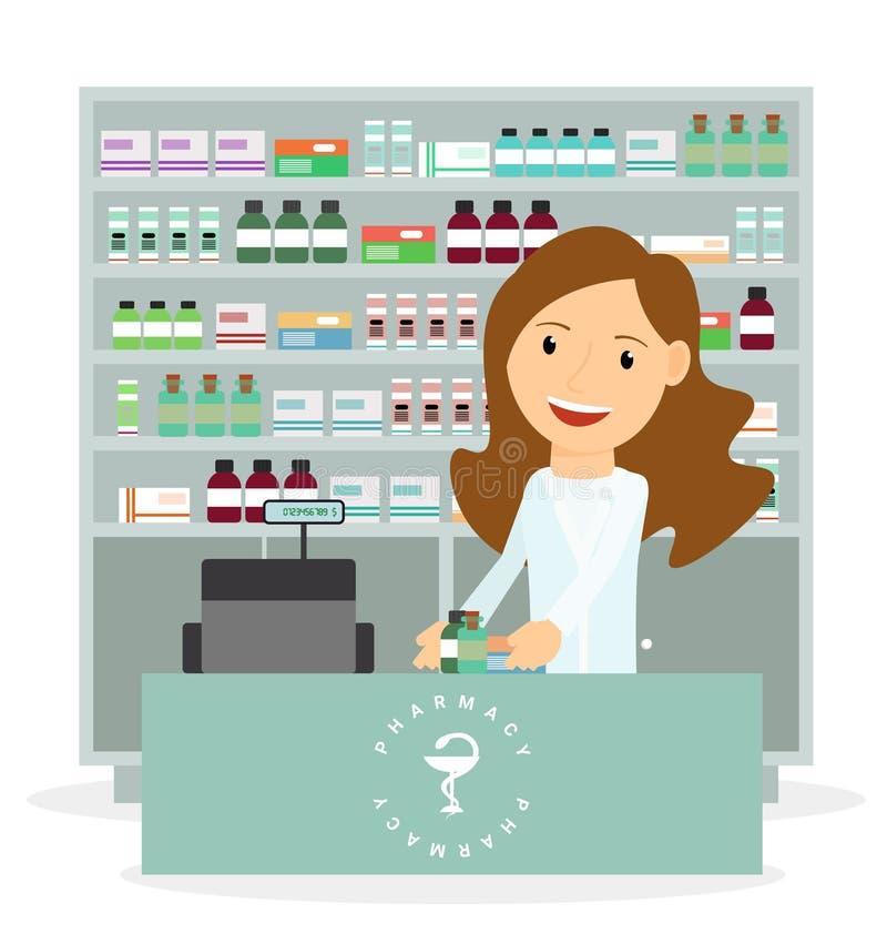 Ilustração lisa moderna do vetor de um farmacêutico fêmea que mostra a descrição da medicina no contador em uma farmácia ilustração royalty free