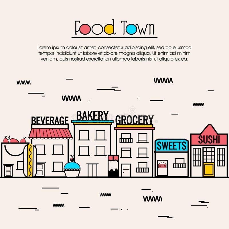 Ilustração lisa para o conceito da cidade do alimento ilustração stock