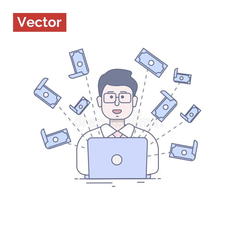 Ilustração lisa para o Web site - como o homem de negócios atrai o dinheiro mim imagens de stock royalty free