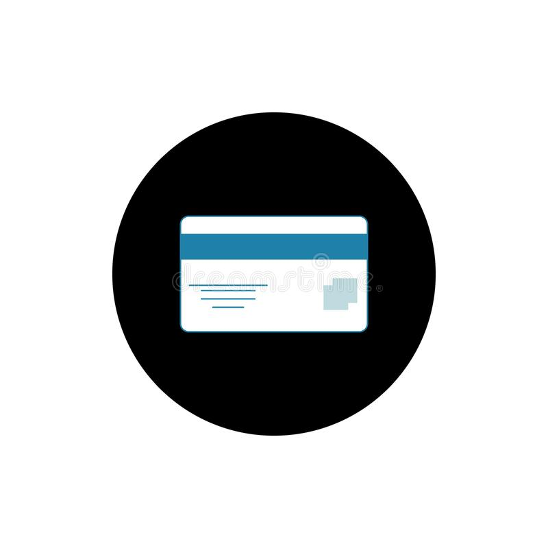 Ilustração lisa redonda do vetor do ícone do cartão de crédito imagem de stock