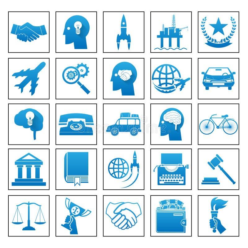 Ilustração lisa retro ajustada do vetor do conceito de projeto da lei do esporte da viagem de negócios dos ícones ilustração royalty free