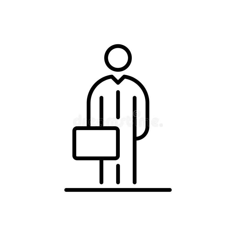 Ilustração lisa simples do estilo do avatar do ícone do homem de negócios ilustração stock