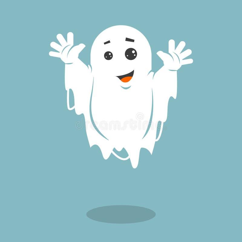 Ilustração lisa simples do vetor da arte de um fantasma de arreganho ilustração do vetor