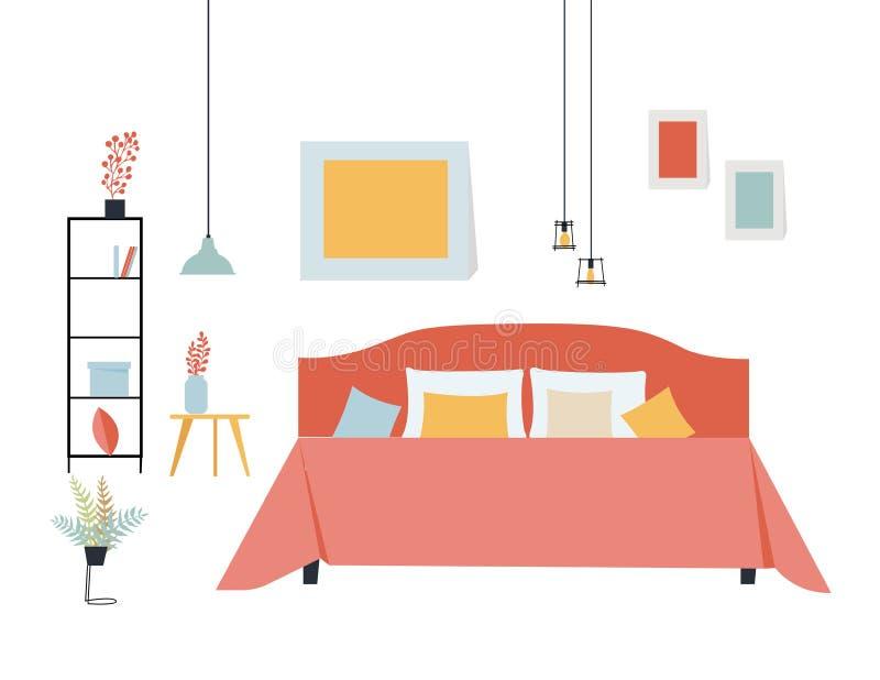 Ilustração lisa simples do vetor de um quarto com uma cama de casal, uma prateleira com coisas, uma tabela e umas plantas em past ilustração do vetor