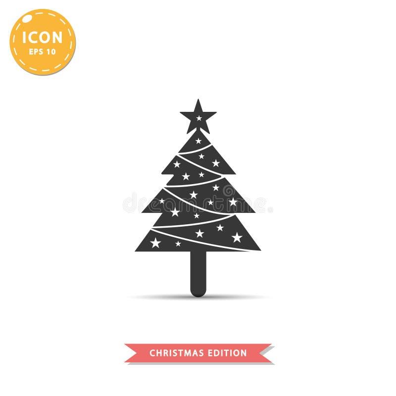 Ilustração lisa simples do vetor do estilo do ícone da árvore de Natal ilustração royalty free