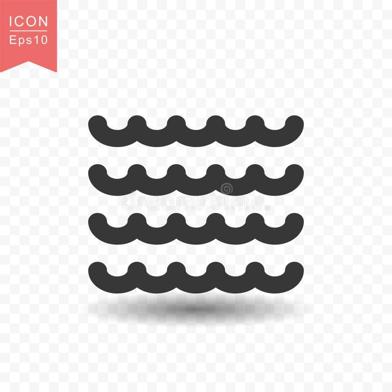 Ilustração lisa simples do vetor do estilo do ícone da onda de água ilustração do vetor