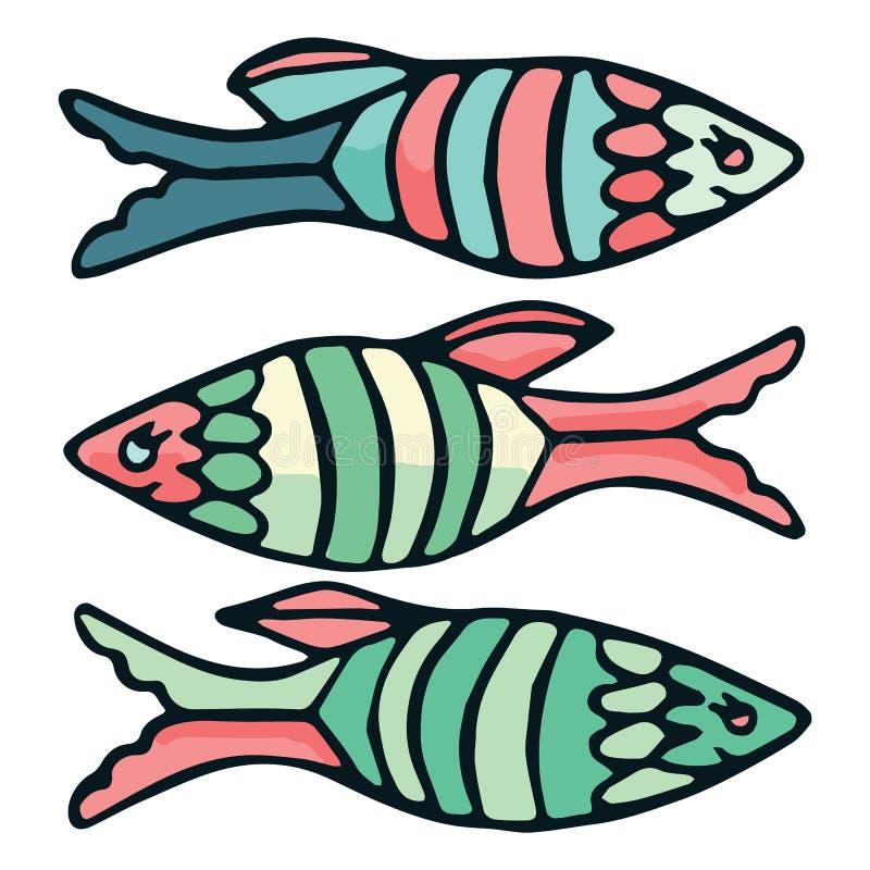 Ilustração listrada bonito do vetor dos peixes Clipart náutico decorativo da vida ilustração do vetor