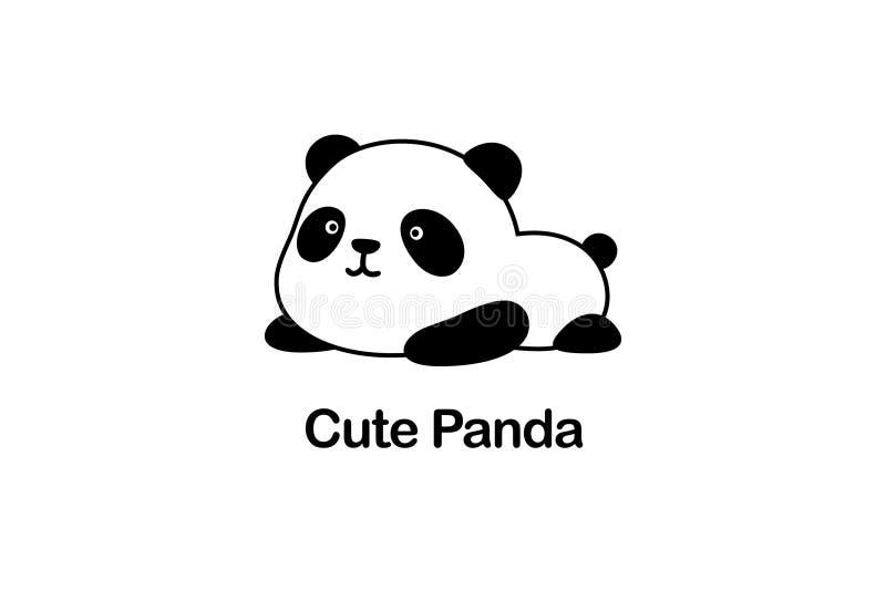 Ilustração/Logo Design do vetor - o urso de panda gigante gordo engraçado bonito dos desenhos animados do bebê/panda da porcelana ilustração royalty free