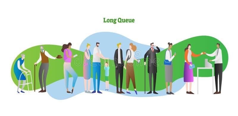 Ilustração longa do vetor da fila Os povos aglomeram-se com criança, pessoa idosa, família que espera na linha Cliente e empregad ilustração stock