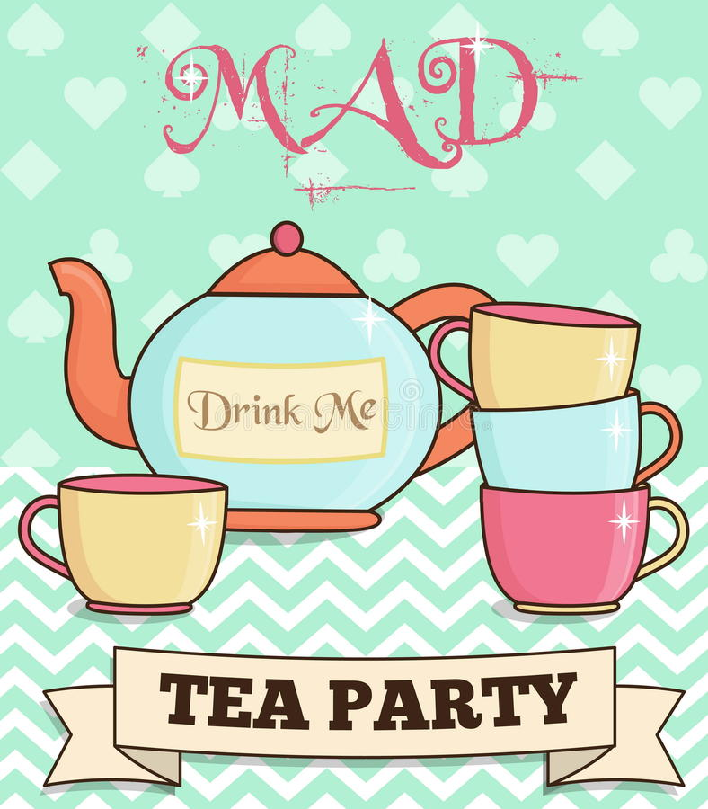 Ilustração louca do tea party do país das maravilhas bonito ilustração stock