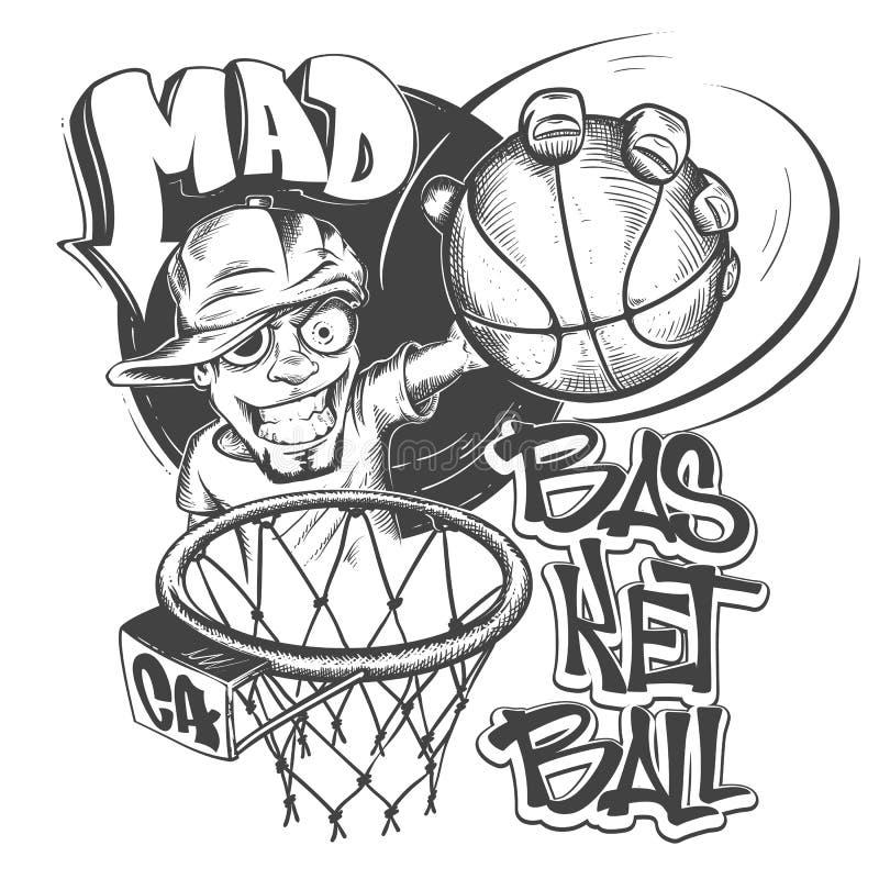 Ilustração louca do vetor do projeto da cópia do t-shirt da batida do basquetebol ilustração do vetor