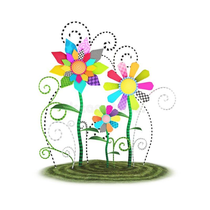 Ilustração lunática bonito do fundo das flores de Toon ilustração do vetor