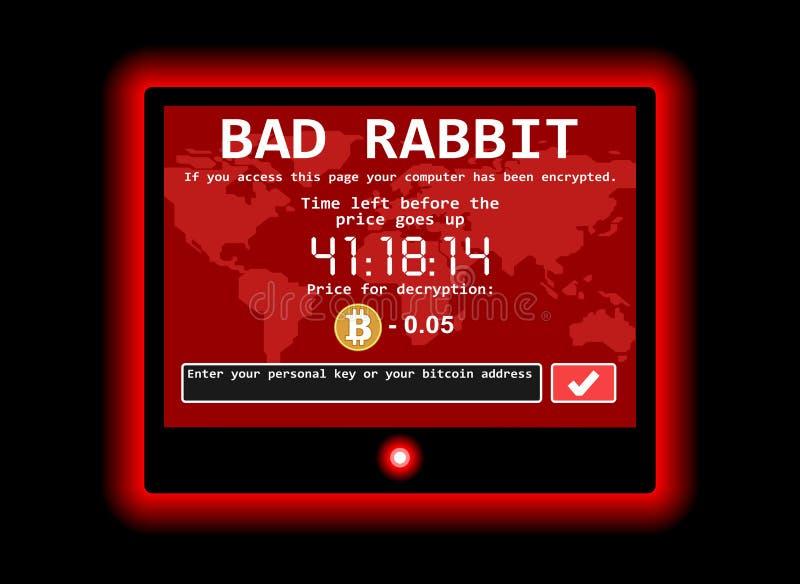 Ilustração má da tela do ataque do cyber do encrypter do vírus de computador do ransomware do coelho ilustração do vetor