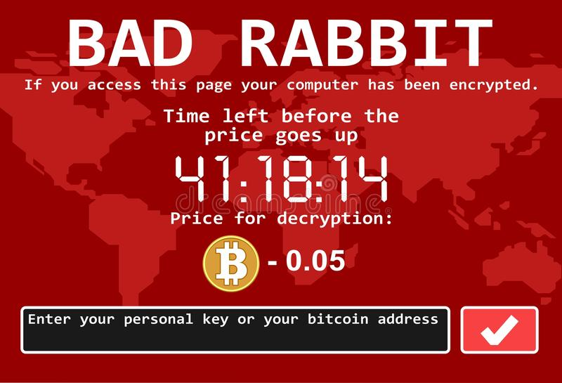 Ilustração má da tela do ataque do cyber do encrypter do vírus de computador do ransomware do coelho ilustração stock