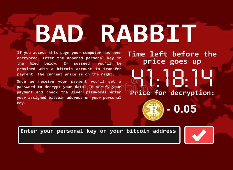 Ilustração má da tela do ataque do cyber do encrypter do vírus de computador do ransomware do coelho ilustração royalty free