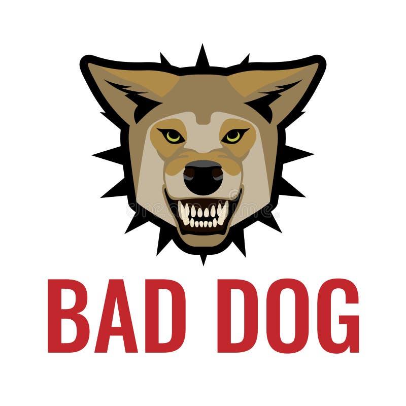 Ilustração má do vetor do cartaz do cão no branco Beware dos cães ilustração royalty free