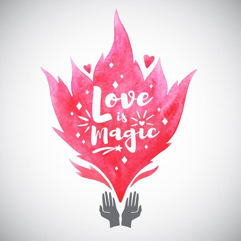 Ilustração mágica do dia de Valentim, chama cor-de-rosa da aquarela ilustração stock