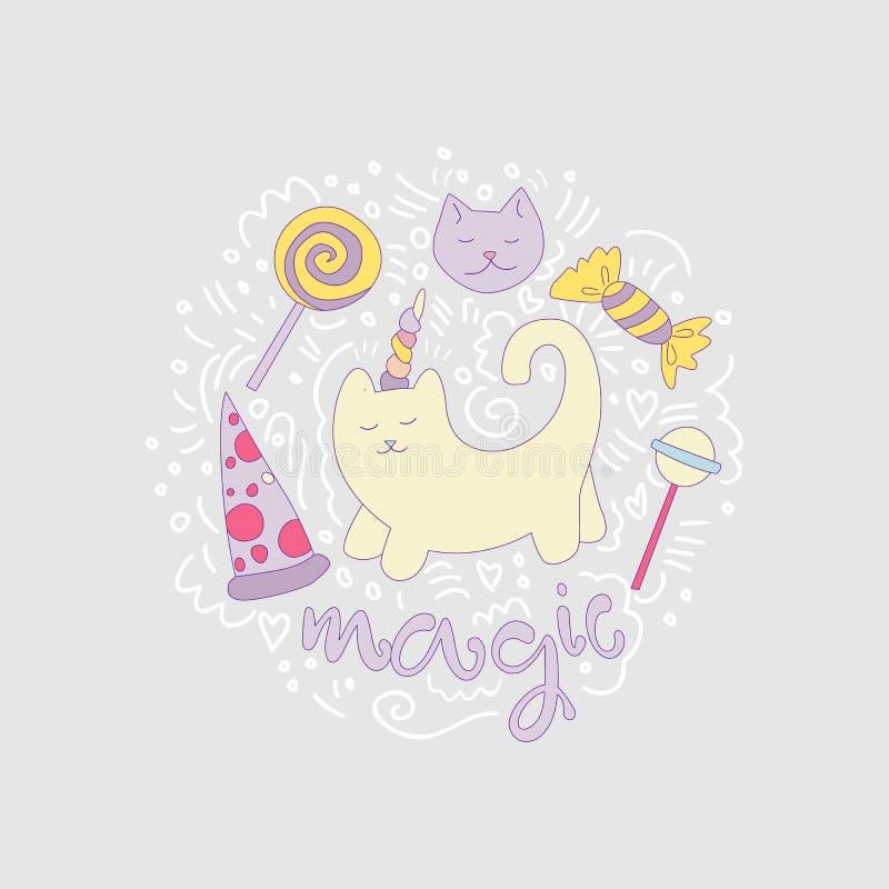 Ilustração mágica do divertimento dos desenhos animados do vetor do gato entre linhas e pirulitos curvados, doces, pizza Gato do  ilustração stock