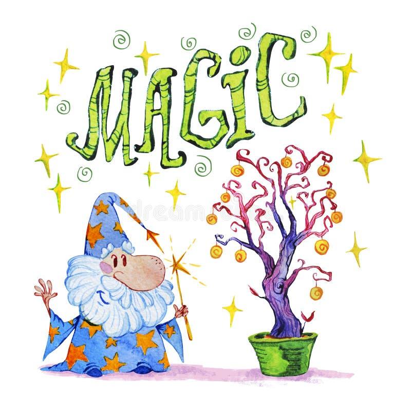 Ilustração mágica tirada da aquarela mão artística com estrelas, feiticeiro e árvore da mágica no fundo branco ilustração royalty free