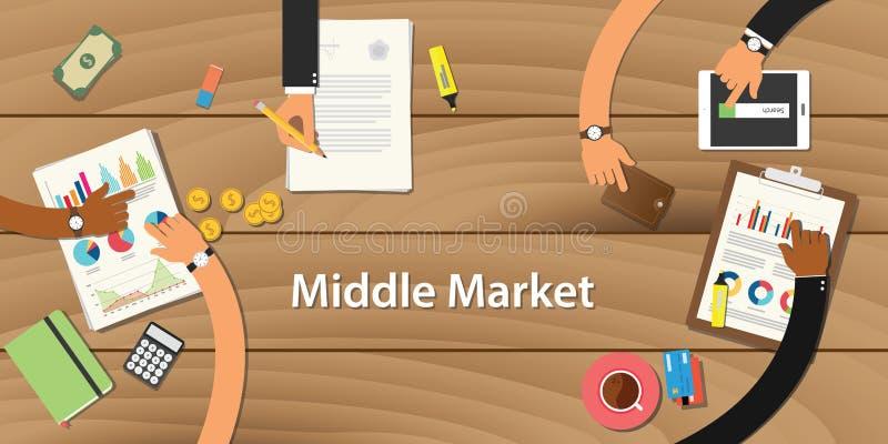 Ilustração média do mercado com a equipe que trabalha na opinião de madeira da tabela ilustração royalty free