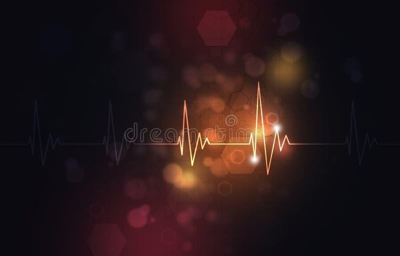 Ilustração médica abstrata do ritmo de pulsação do coração ilustração stock