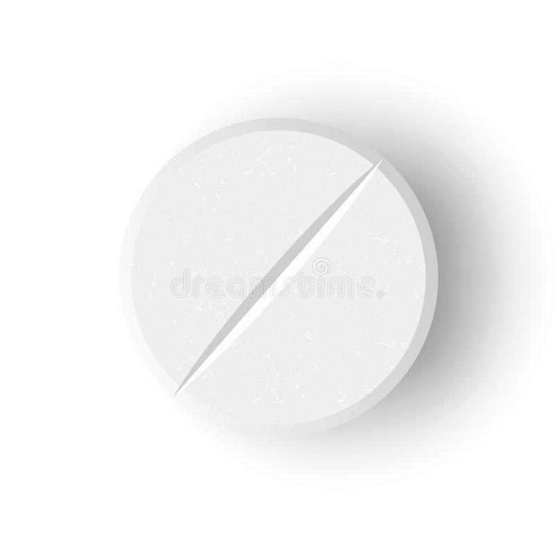 Ilustração médica branca do vetor do comprimido 3D ou da droga Tabuleta realística com sombra macia em Front Isolated On White Ba ilustração stock
