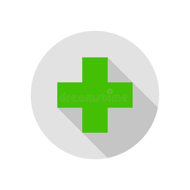 Ilustração médica lisa redonda do ícone do sinal transversal ilustração do vetor