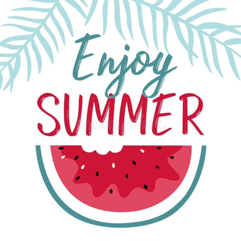 Ilustração mínima do verão com melancia e rotulação da fatia ilustração stock