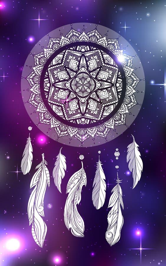 Ilustração místico de um dreamcatcher com um teste padrão do tracery do boho, penas com grânulos em um fundo cósmico ilustração royalty free
