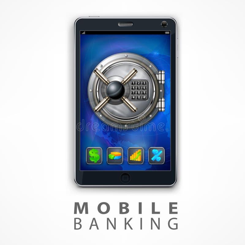 Ilustração móvel do vetor da segurança da operação bancária ilustração do vetor