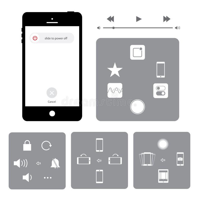 Ilustração móvel do vetor do ícone do botão da aplicação do telefone esperto do écran sensível ilustração do vetor