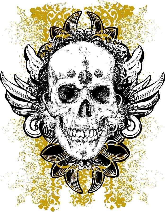 Ilustração manchada do crânio do grunge