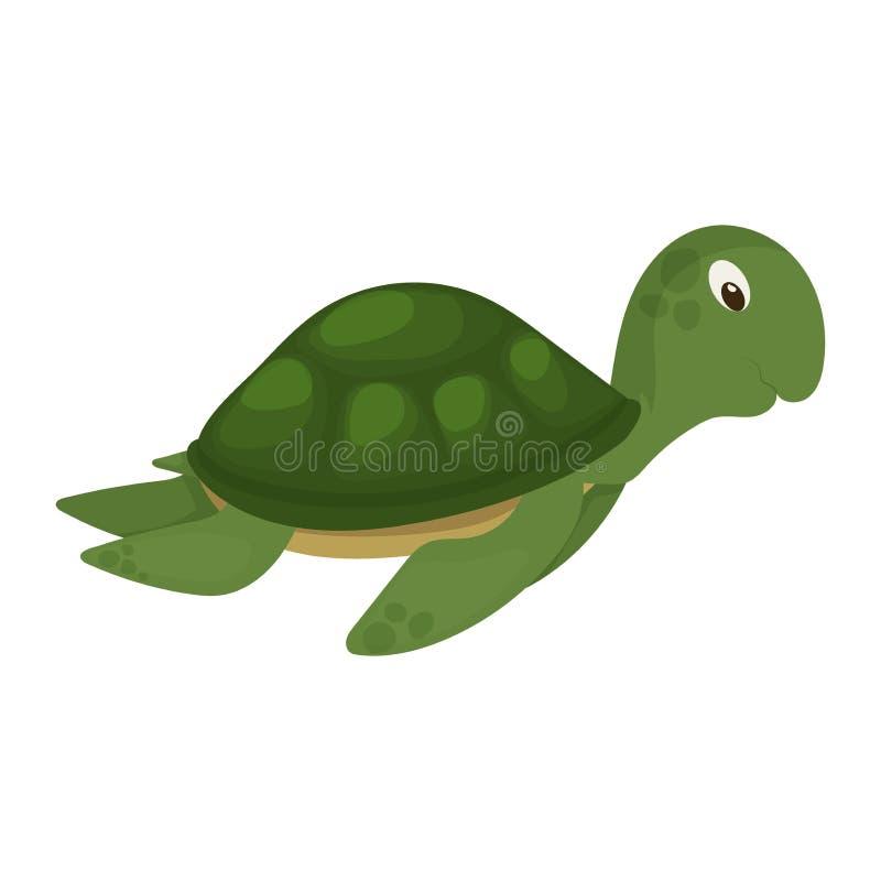 Ilustração marinha do vetor do caráter dos animais selvagens subaquáticos da natureza animal do oceano do verde da tartaruga de m ilustração royalty free