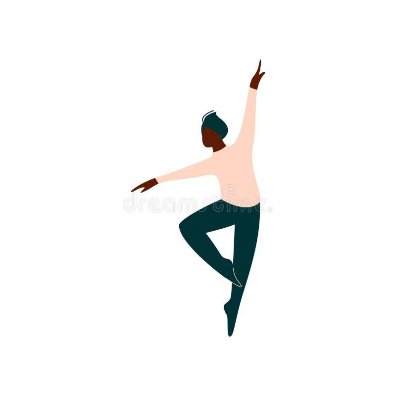 Ilustração masculina afro-americano profissional do vetor da dança de Dancing Classical Ballet do dançarino de bailado ilustração royalty free
